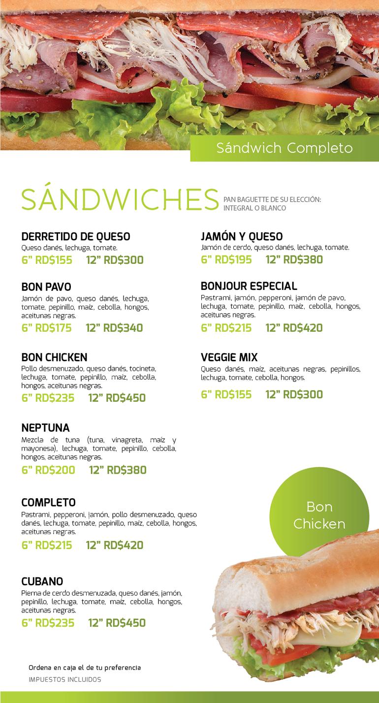 Menú sandwiches Tiendas Bonjour